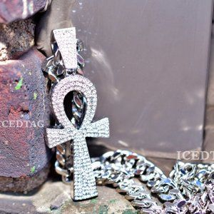 Other - XL Size Iced out Ankh Symbol Pendant, Cuban Chain